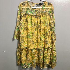 Suzanne Betro Floral Mustard Yellow Boho Dress 1X